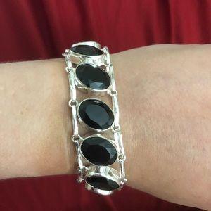 "Jewelry - Natural Black Onyx Bracele. Sterling silver 7-8""."